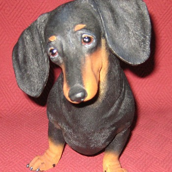 Black and Tan Miniature Dachshund Statue