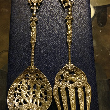 Antique Stamped Italian Detailed Cherubs  Fork and Spoon