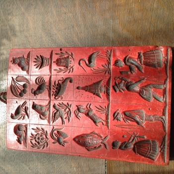 Red wax template block - Folk Art