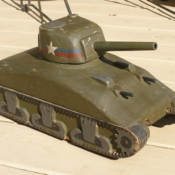 WWII homefront wooden Sherman Tank pulltoy. 