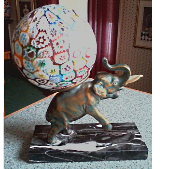 Art Deco Bronze Elephant Lamp on Black Marble Base/Murano Millefiori Glass Ball Shade / Circa 1930's - Lamps
