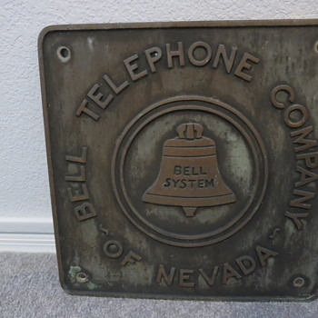 Vintage Bell of Nevada bronze sign - Signs