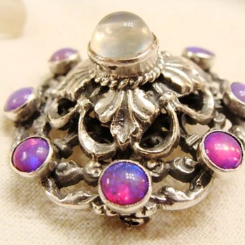 Hungarian Moonstone and Opal Brooch
