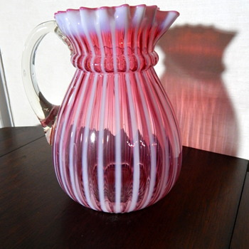 Opalescent Cranberry Ribbed Pitcher - Art Glass