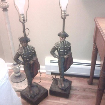 Medors Male Lamps Beautiful!   Are these Chalkware?  Felt on bottom. - Lamps