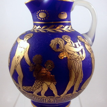 Loetz Pitcher with Oroplastic Decoration, ca. 1928, &quot;Etrusk&quot;, Prod. Nr. unknown - Art Glass