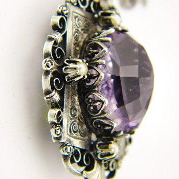 Antique Victorian Amethyst Seed Pearl Mourning Locket Sterling Necklace - Fine Jewelry