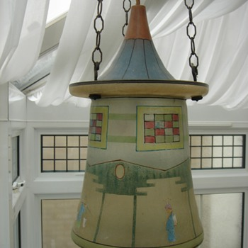 glass lantern with asian figures