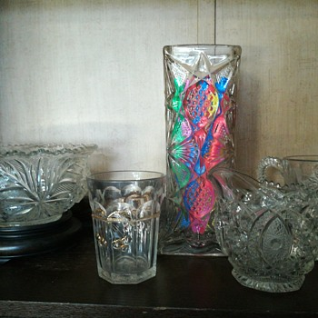 US Glass Co. Illinois pattern straw holder, sans lid c.1897 - Glassware