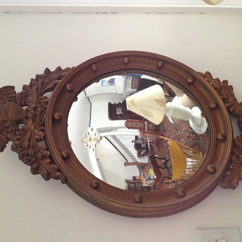 Early Vintage wood framed concave Mirrow