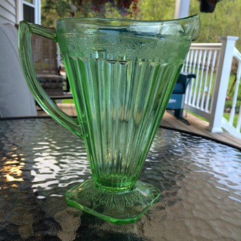 Jeannette Glass Company Adam Green Depression Glass Pitcher - Glassware