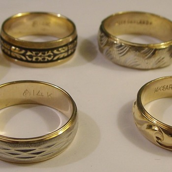Vintage 14k Decorative Wedding Bands 1950's & 60's - Fine Jewelry