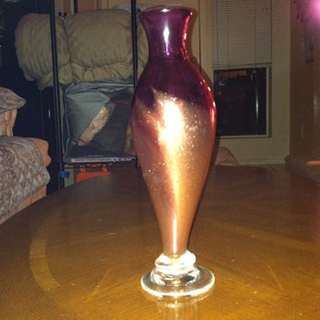Mystery Purple gold accent vase signed - Art Glass