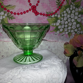 Anchor Hocking Green Block Optic Sherbet Dish - Glassware