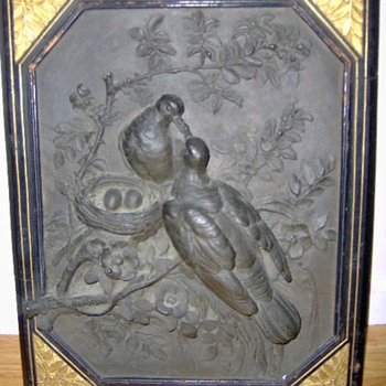 What a find Antique Bronze Plaque featuring Nesting Birds signed M. Carmille 1878 - Animals