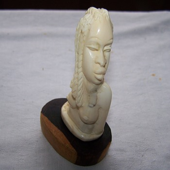 African Hand Carved Ivory Woman Bust  - Figurines