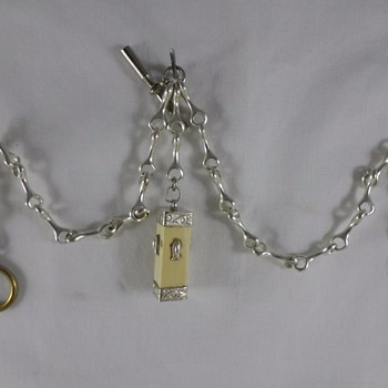 Pocket Watch fob- nickle/silver  & bone? Gambling Dice?