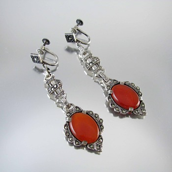 Vintage Art Deco sterling silver carnelian marcasite earrings - Fine Jewelry