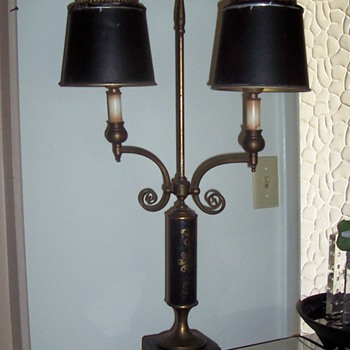 Vintage Desk Lamp, Black Leather (is it a Bouillotte?) - Lamps