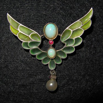Early 20th century silver plique-a-jour enamel opal and red gem brooch. - Fine Jewelry