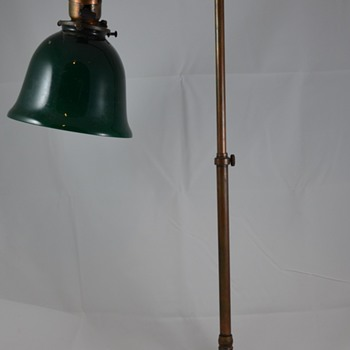 Antique Brass Desk Lamp with Green Shade Edison Patients 250 v. 50 C.P. Bryant