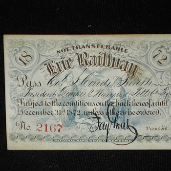 1872 Erie Railway Pass signed by Jay Gould