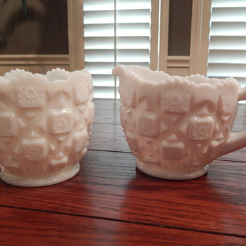 Westmoreland milk glass sugar/creamer sets