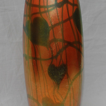 Imperial FreeHand Heart & Vine Vase - Art Glass