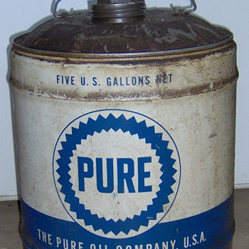 PURE OIL 5 gallon OIL CAN NICE! - Petroliana