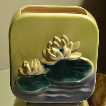 Royal Copley Water Lily Pillow Vase - Art Pottery