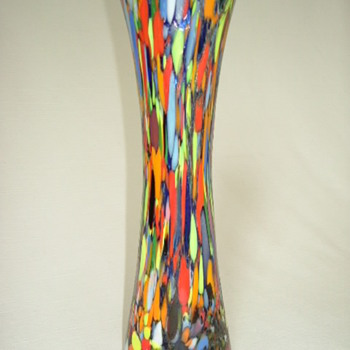 Czech Art Deco Spatter Glass Vase
