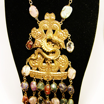 Vintage Accessocraft N.Y.C. Dragon with Gemstones Necklace - Costume Jewelry