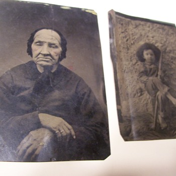 TWO TINTYPES-YOUNG BOY AND OLD WOMAN
