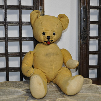 "Unique, yellow mustard cloth BEAR - 15"" tall"