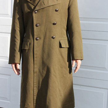 Military ? long coat  label three,four,one five w/ asian lettering/Chinese buttons ?