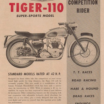 1953 Triumph Tiger Motorcycle Advertisement - Advertising