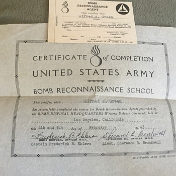 World War 2 US Army Bomb Reconnaissance Agent Certificate