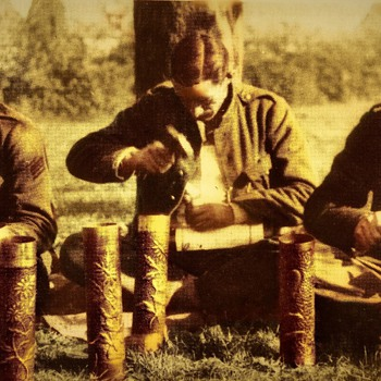 Belgian Soldiers Working on Trench - Art - Military and Wartime