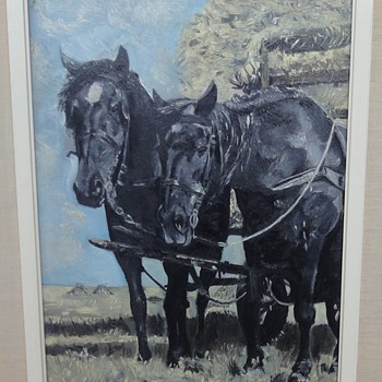 Two black horses for a hay wagon by my father Steven