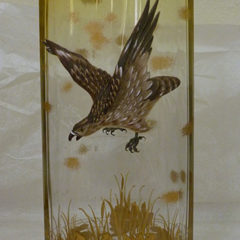 Moser bird of prey over pond Clear to a citrine color - Art Glass