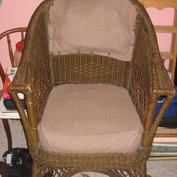 A wicker chair.