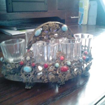 Antique gem shot glass set with caddy