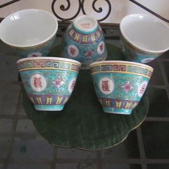 Rare Mun Shou tea cups Turquois Famille Rose Loigevity Zhonggue Jingdezhen