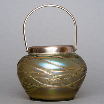 threaded cookie pot - Art Glass