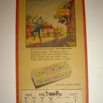 1927 Wrigley's Gum calender - Advertising