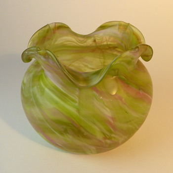 Art Nouveau green & pink swirl bowl/vase- bohemain?