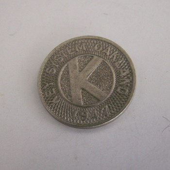 1947 Key System Token Pass - Railroadiana