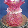 Red Iridescent Crackle Art Glass Vase with Applied Rigaree