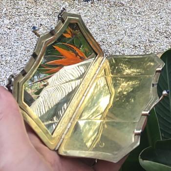 Antique Silver engraved handbag compact - Silver
