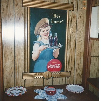 "1944 16"" x 27"" Coca-Cola Cardboard Sign With Gold Wood Frame"